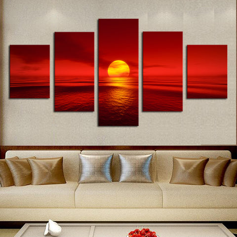 Sunrise Sunset Sea Red 5 Piece Canvas