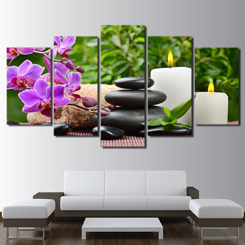 Pink orchid Spa Zen 5 Piece Canvas
