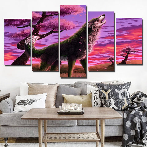 Blossom Wolf 5 Piece Canvas