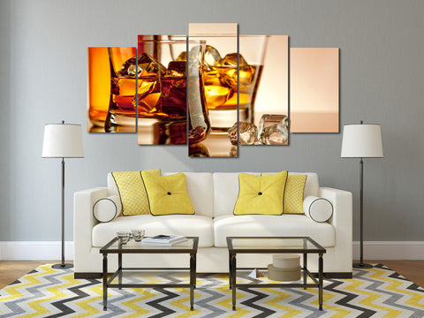 Whiskey with Ice 5 Piece Canvas