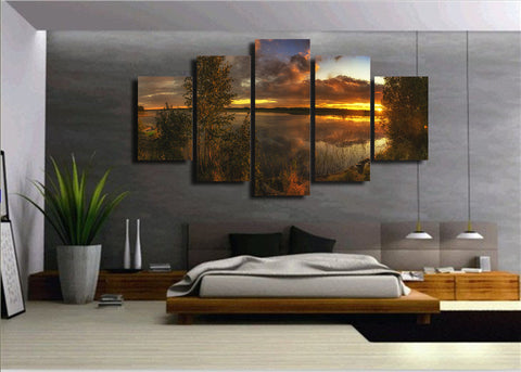 Bushes Lake Sunset 5 Piece Canvas