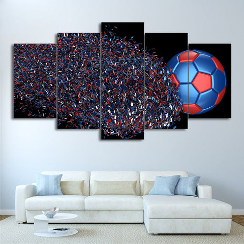 Football Disintegration 5 Pieces Canvas