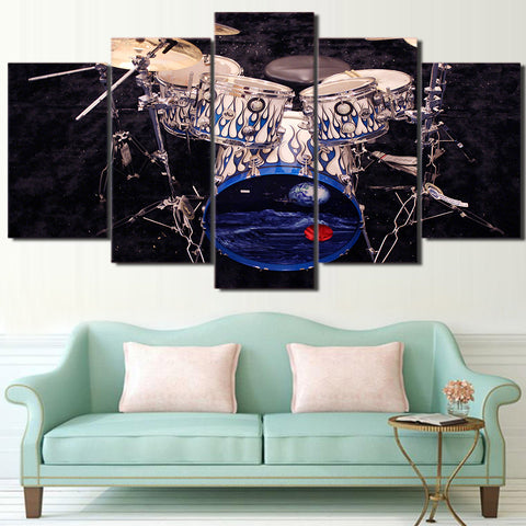 Cool Blue Drums 5 Piece Canvas