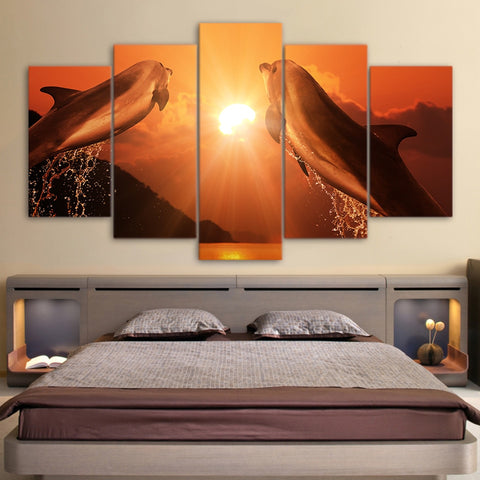 Jumping Couple Dolphins in Sunset 5 Piece Canvas