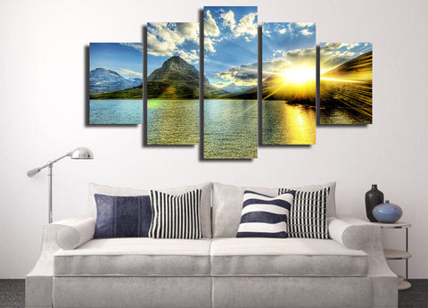 Sunrise by the Lake 5 Piece Canvas