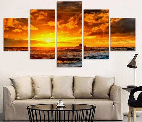 Orange Sun Sea Wave 5 Piece Canvas