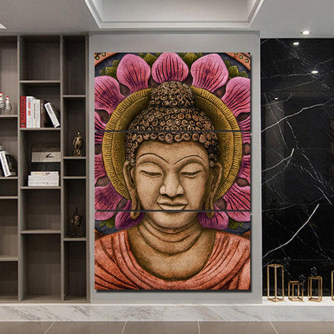 Buddha with Pink Flower 3 Piece Canvas