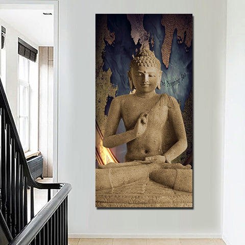 Brown Religion Buddha 1 Piece Canvas