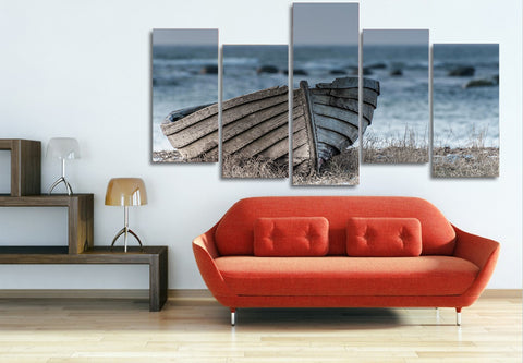 Old Small Wooden Boat 5 Piece Canvas