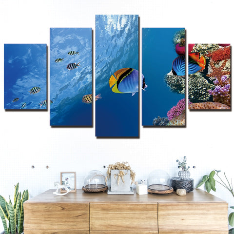 Sea Ocean Coral Reef Fish 5 Piece Canvas