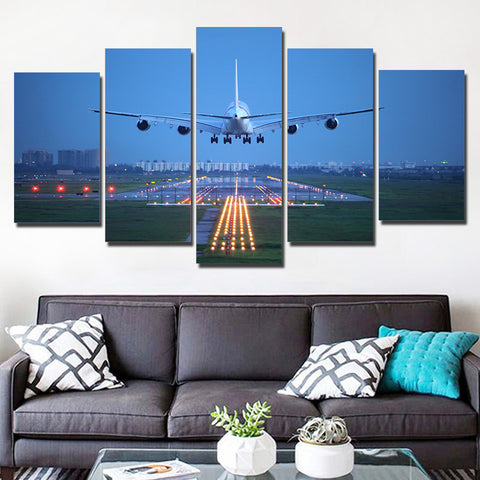 Airplane in Blue Sky 5 Piece Canvas