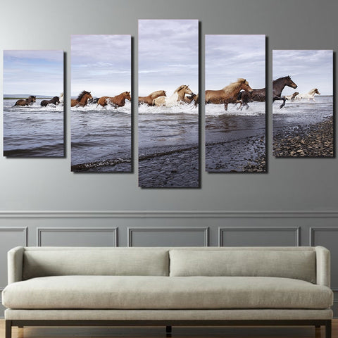 Horses across the River 5 Piece Canvas
