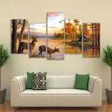 Deer Forest Lake 5 Piece Canvas