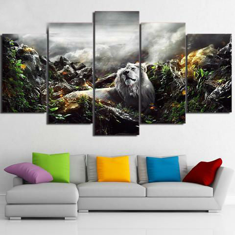 Jungle Lion 5 Piece Canvas