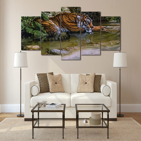 Tiger Water 5 Piece Canvas