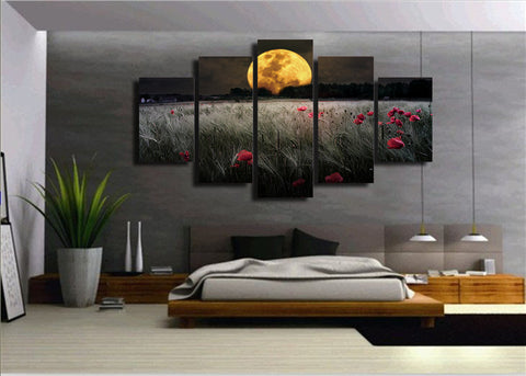 Moonlight flowers 5 Piece Canvas
