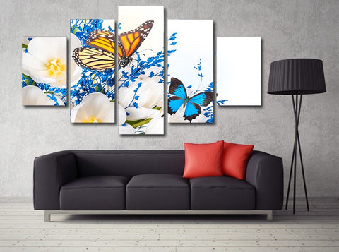 Morning Glory Flower Butterfly 5 Piece Canvas