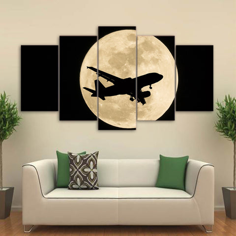 Airplane in Moon Night 5 Piece Canvas