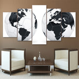 World Map Black White Football 5 Piece Canvas