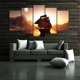Sunset Sailing Ship in the Sea 5 Piece Canvas