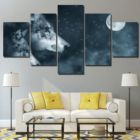 Wolf and Night Moon 5 Piece Canvas