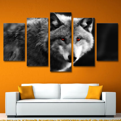 Grey Red Eye Wolf 5 Piece Canvas