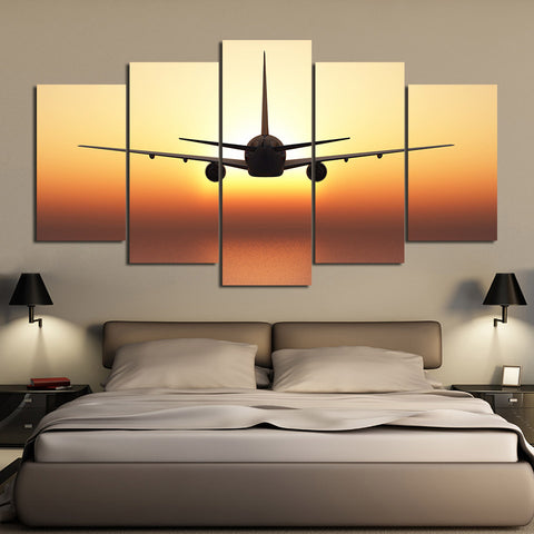 Airplane Fly with Golden Sunset 5 Piece Canvas