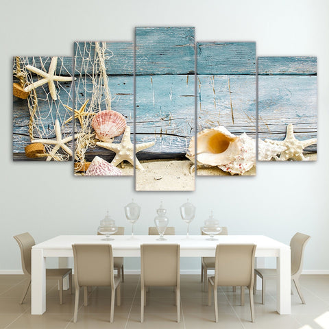Seashells Starfishes Beach 5 Piece Canvas