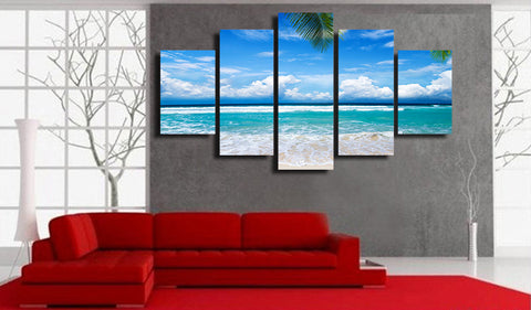 Summer Beach Seashore 5 Piece Canvas