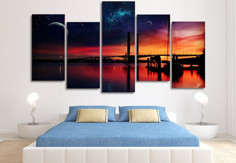 Sunset Night Bridge 5 Piece Canvas