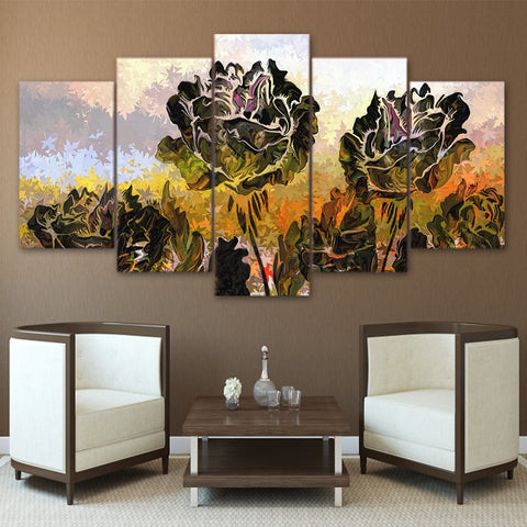 Green Rose 5 Piece Canvas
