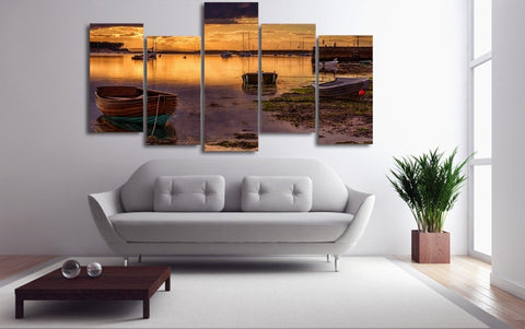 Boat Dock at Lake 5 Piece Canvas
