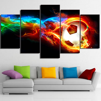 Burning Football 5 Pieces Canvas