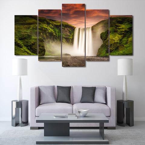 Natural Waterfall 5 Piece Canvas