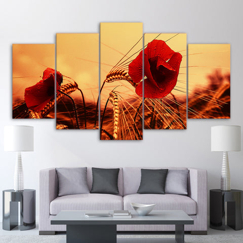 Red Poppies Flower In Sunset 5 Piece Canvas