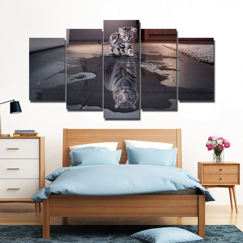 Kitten & Tiger Reflection 5 Piece Canvas