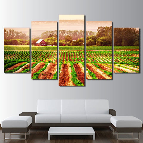 Green Farm Field Farmer 5 Piece Canvas