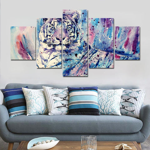 Oil Paint Tiger 5 Piece Canvas