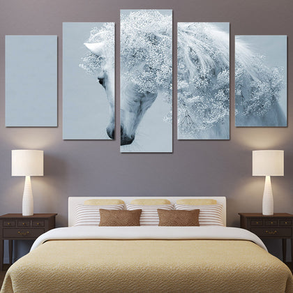 Bride White Horse 5 Piece Canvas
