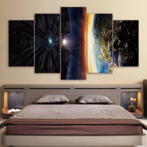 Planet & Space Aircraft 5 Piece Canvas