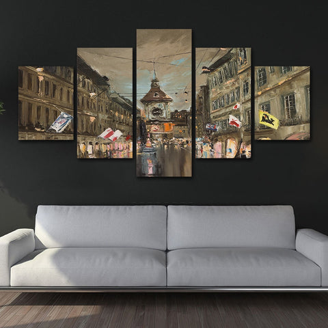 City View Flags 5 Piece Canvas