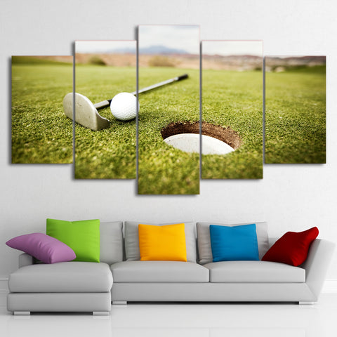 Golf Course and Hole 5 Pieces Canvas