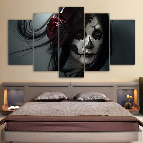 Day of the Dead Face Black 5 Piece Canvas