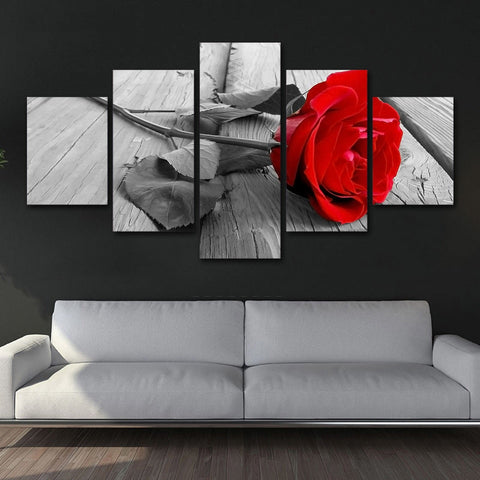 Rose Red Blossom 5 Piece Canvas