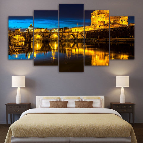 Night view of Rome 5 Piece Canvas