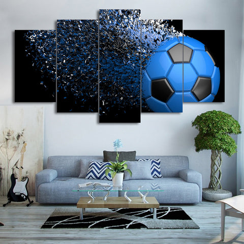 Blue Football Fragmentation 5 Piece Canvas
