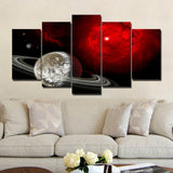 Red Universe and Saturn 5 Piece Canvas
