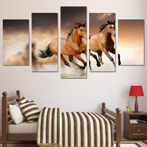 Deserted Horses 5 Piece Canvas