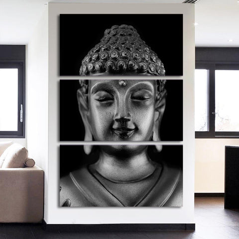 Black and White Buddha Head Face 3 Piece Canvas