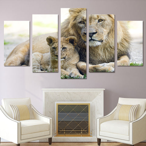 Mother Lion and Child 5 Piece Canvas